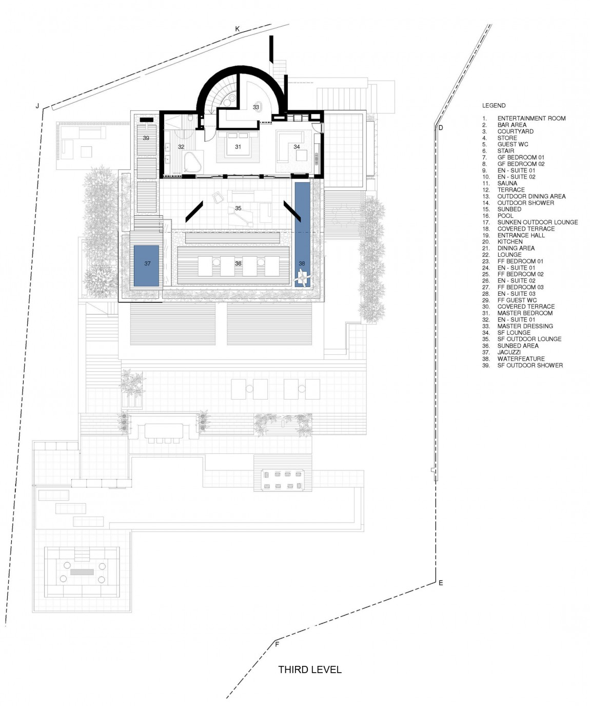 Floor plan of modern villa Roca by SAOTA