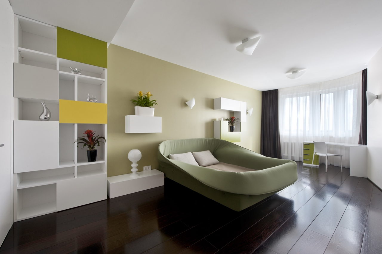 Green bedroom and apartment decorating ideas by Alexandra Fedorova