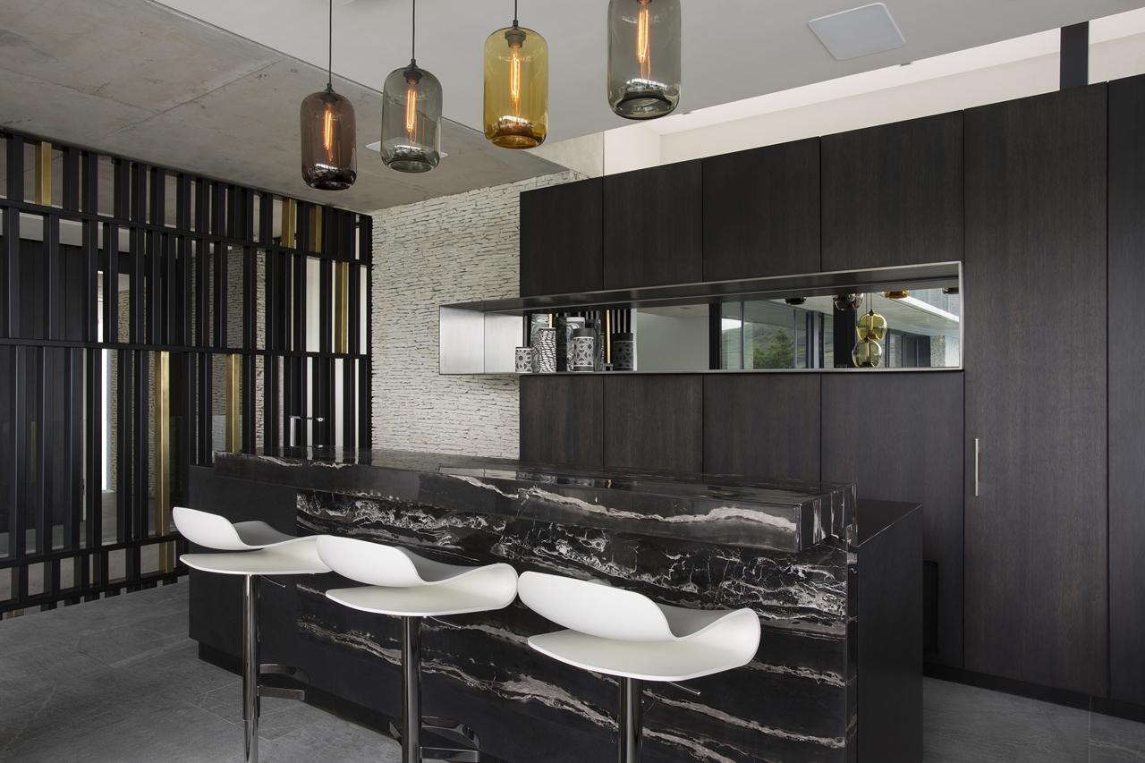 Modern black kitchen in city villa
