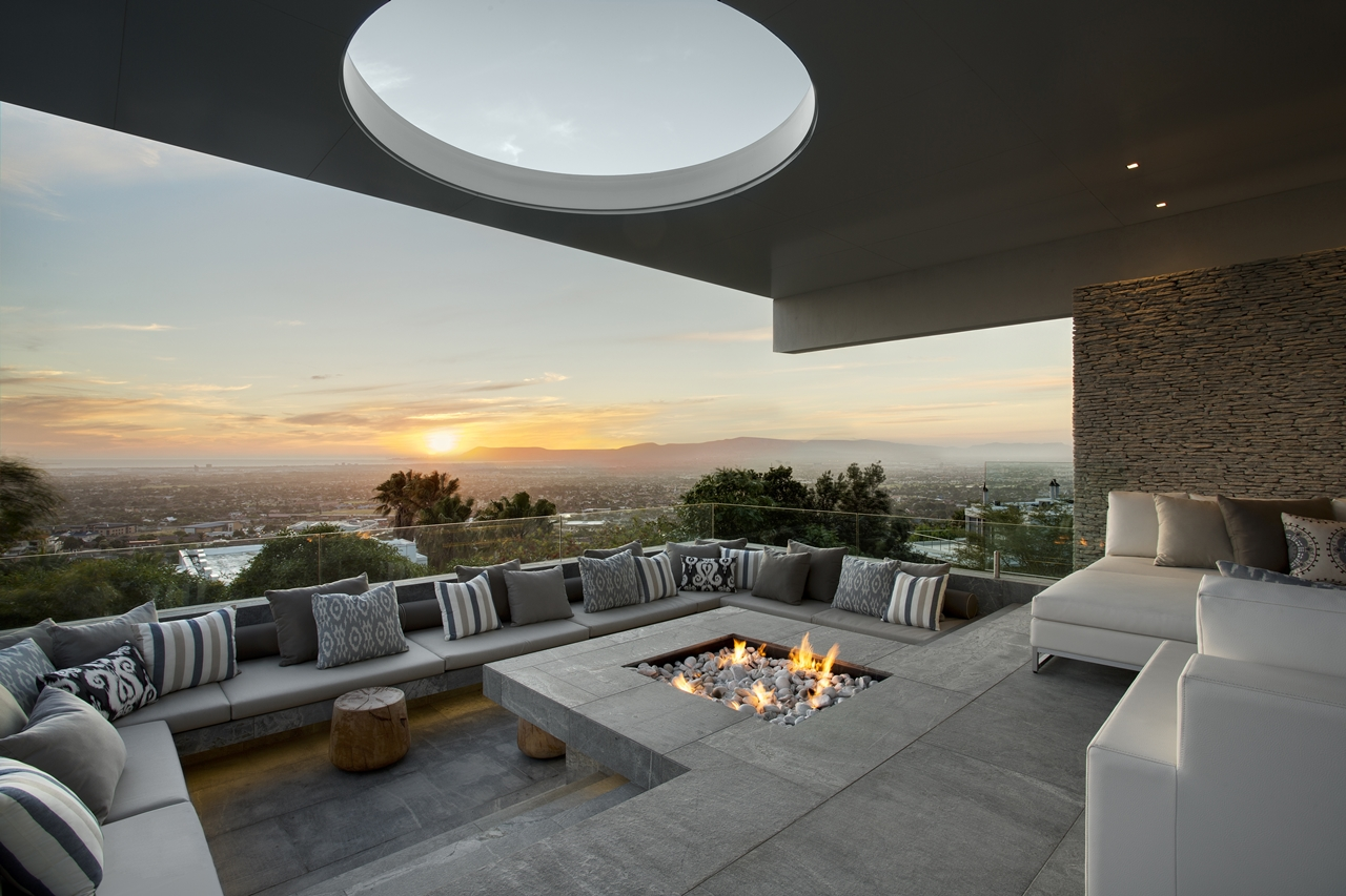 Outdoor fireplace and terrace view