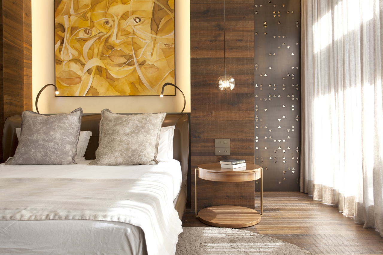 Wood in bedroom interior design in Barcelona apartment by ARRCC