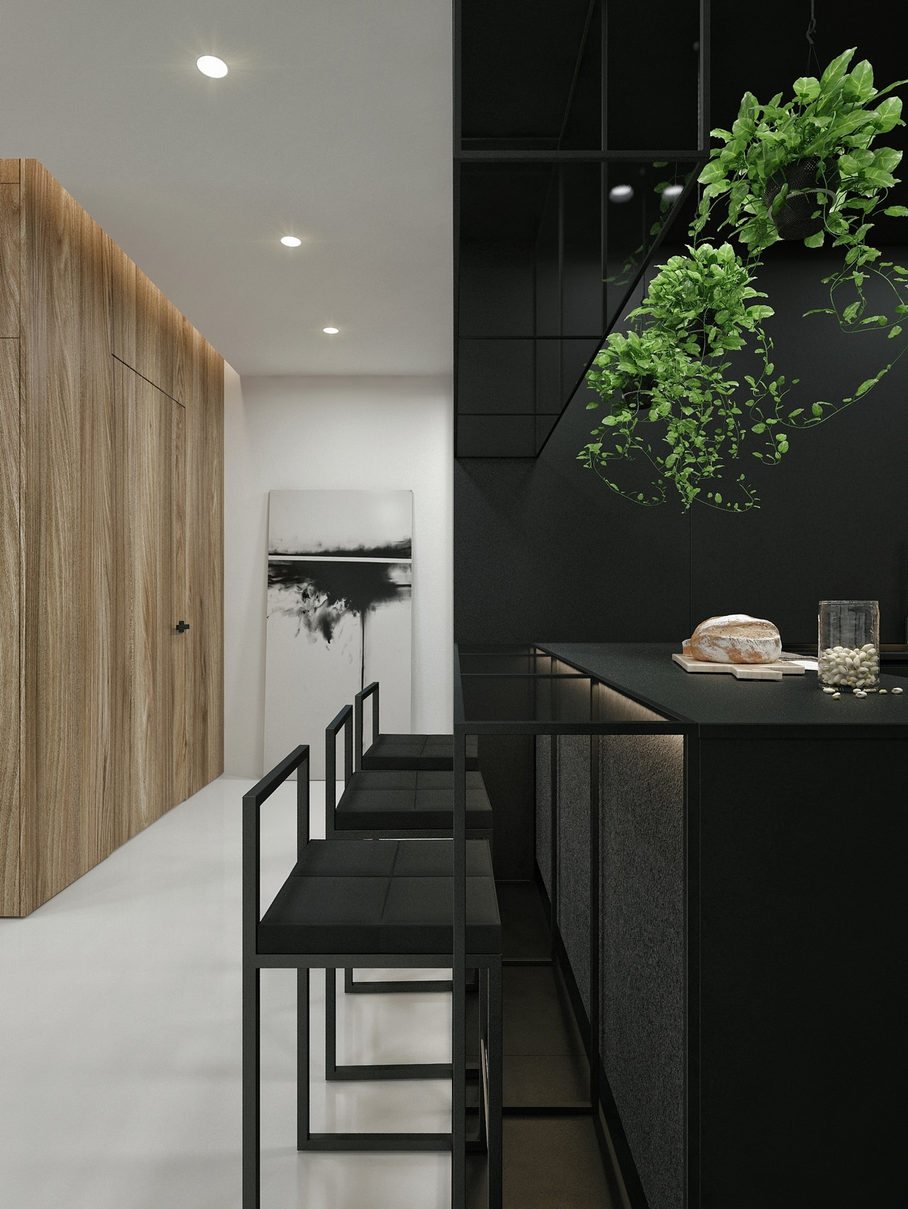 Black and white kitchen design in apartment by ID White