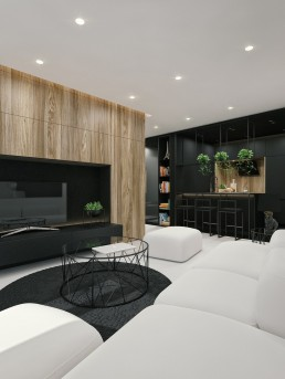 Black and white interior design with wood texture in living room by ID White