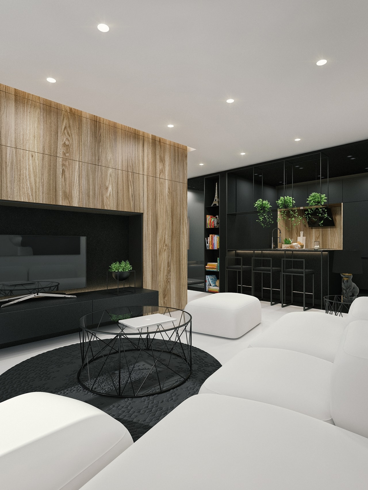 Attractive Black And White Interior Design With Wood Texture In Living Room By ID White