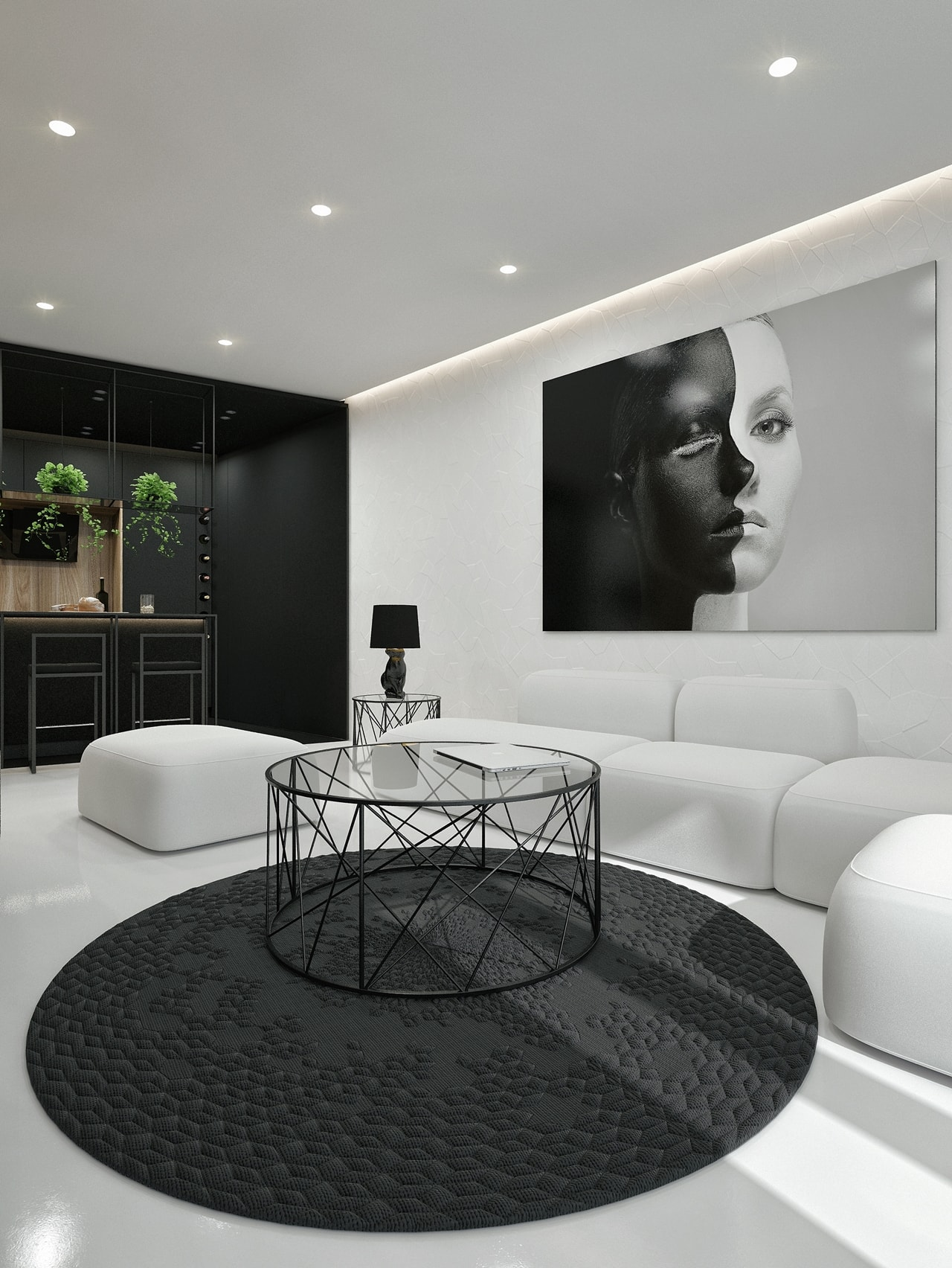 Back and white living room design by ID White