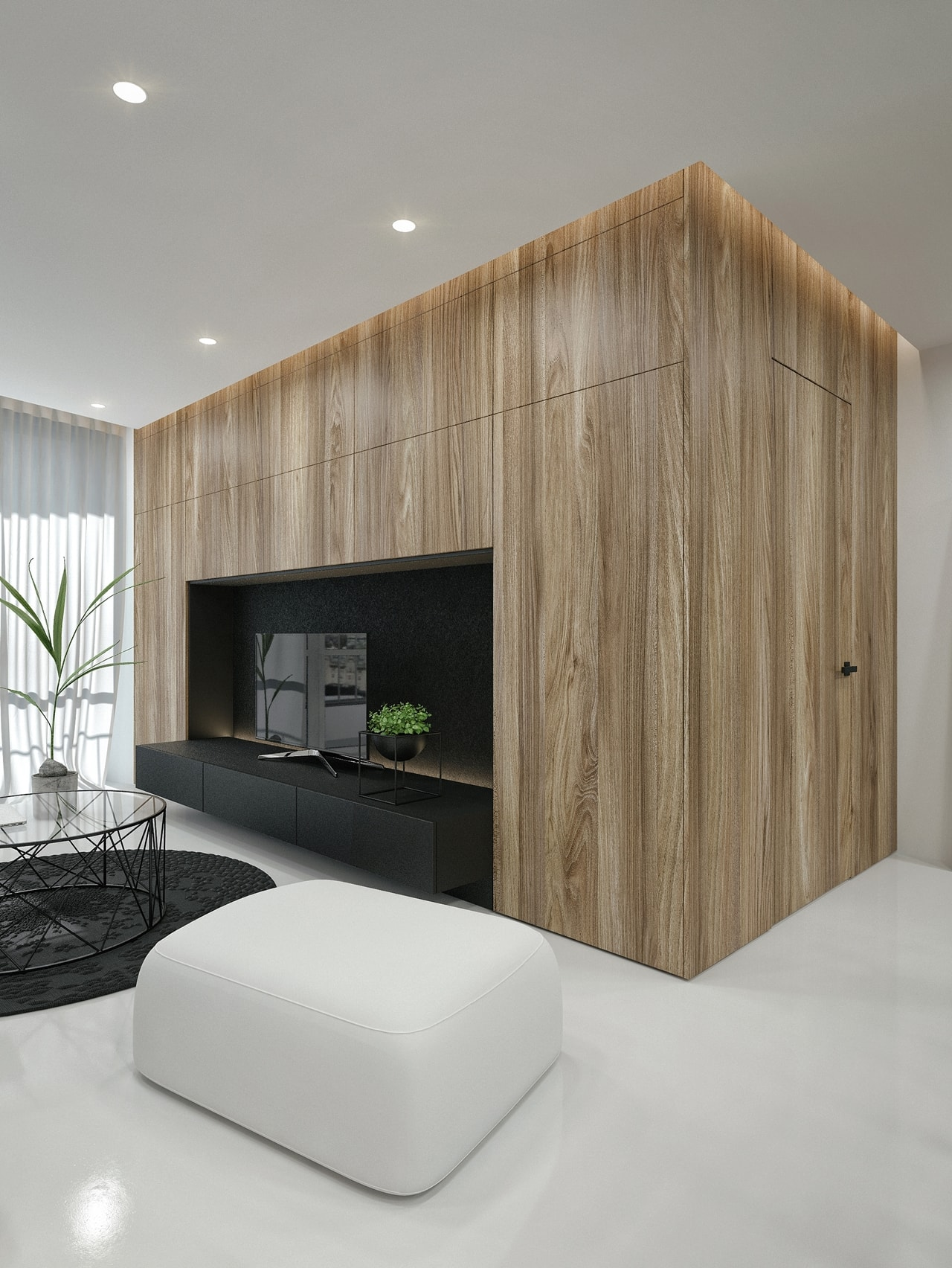 Wood texture in modern living room design by ID White