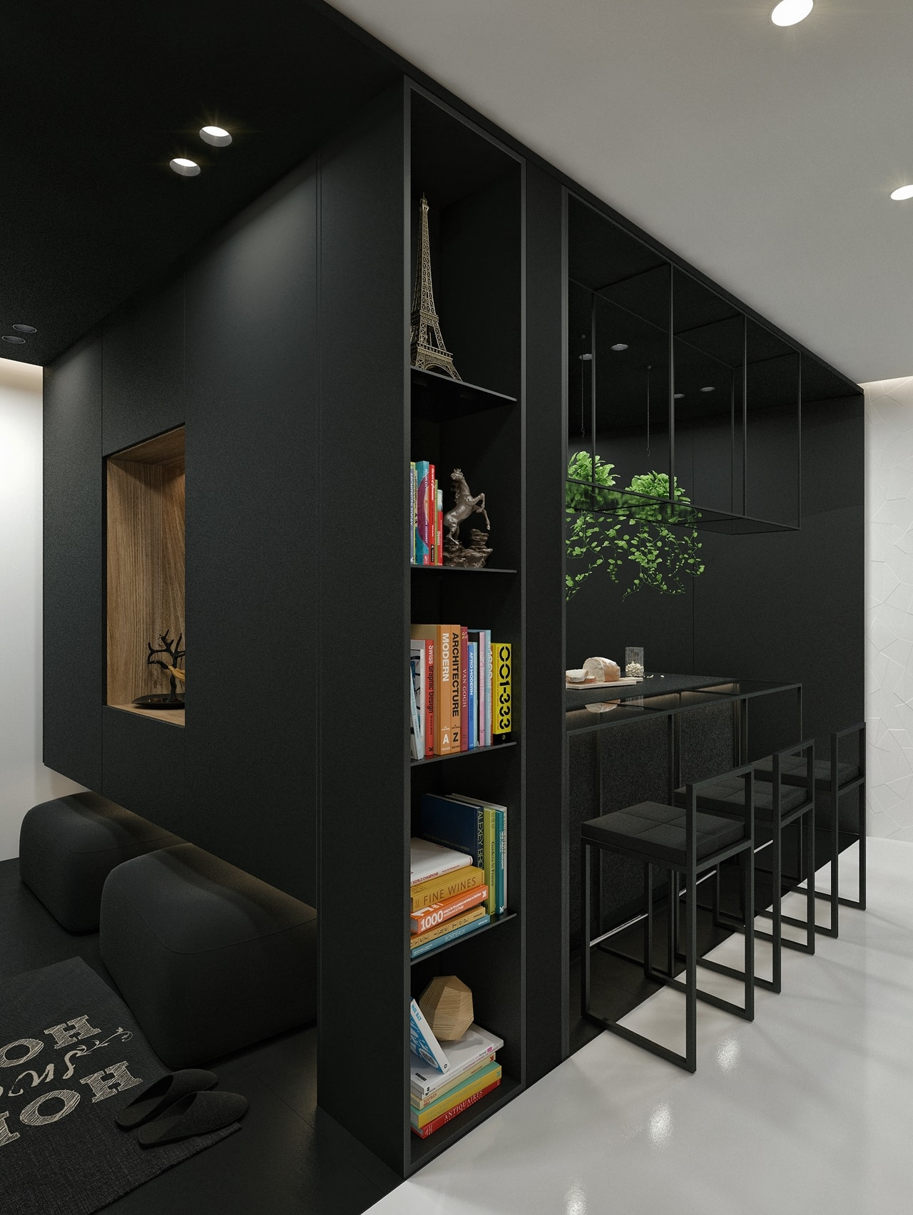 Kitchen Room Interior Design: Black And White Interior Design Ideas: Modern Apartment By