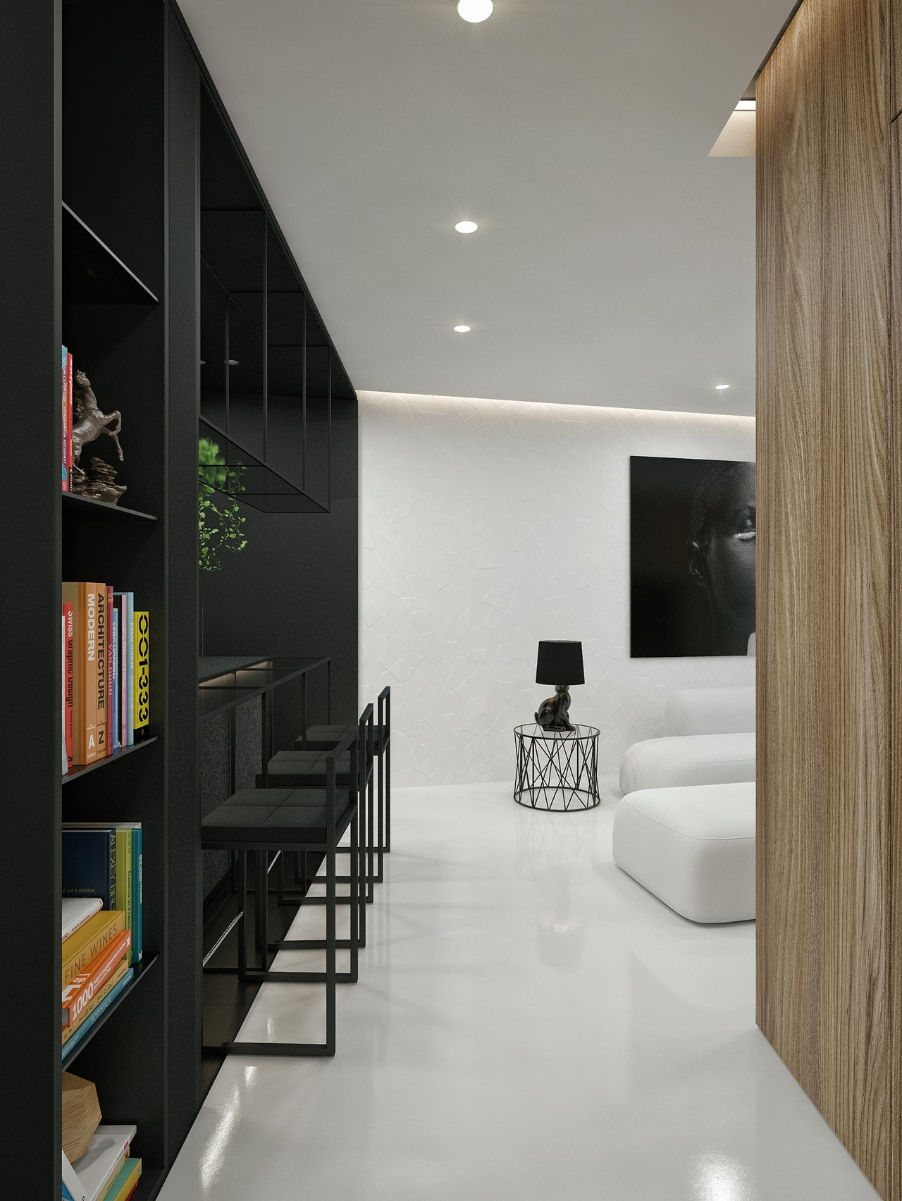 Black and white interior design ideas modern apartment by for Apartment interior design mysore