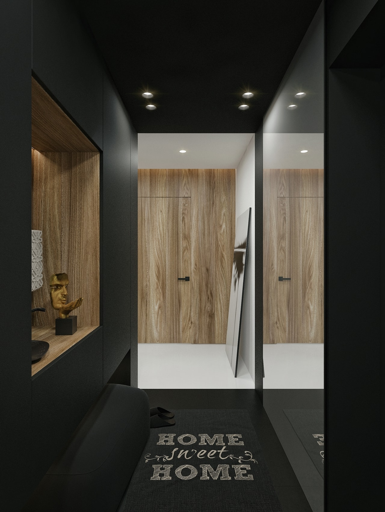 Black entrance hallway in modern apartment by ID White