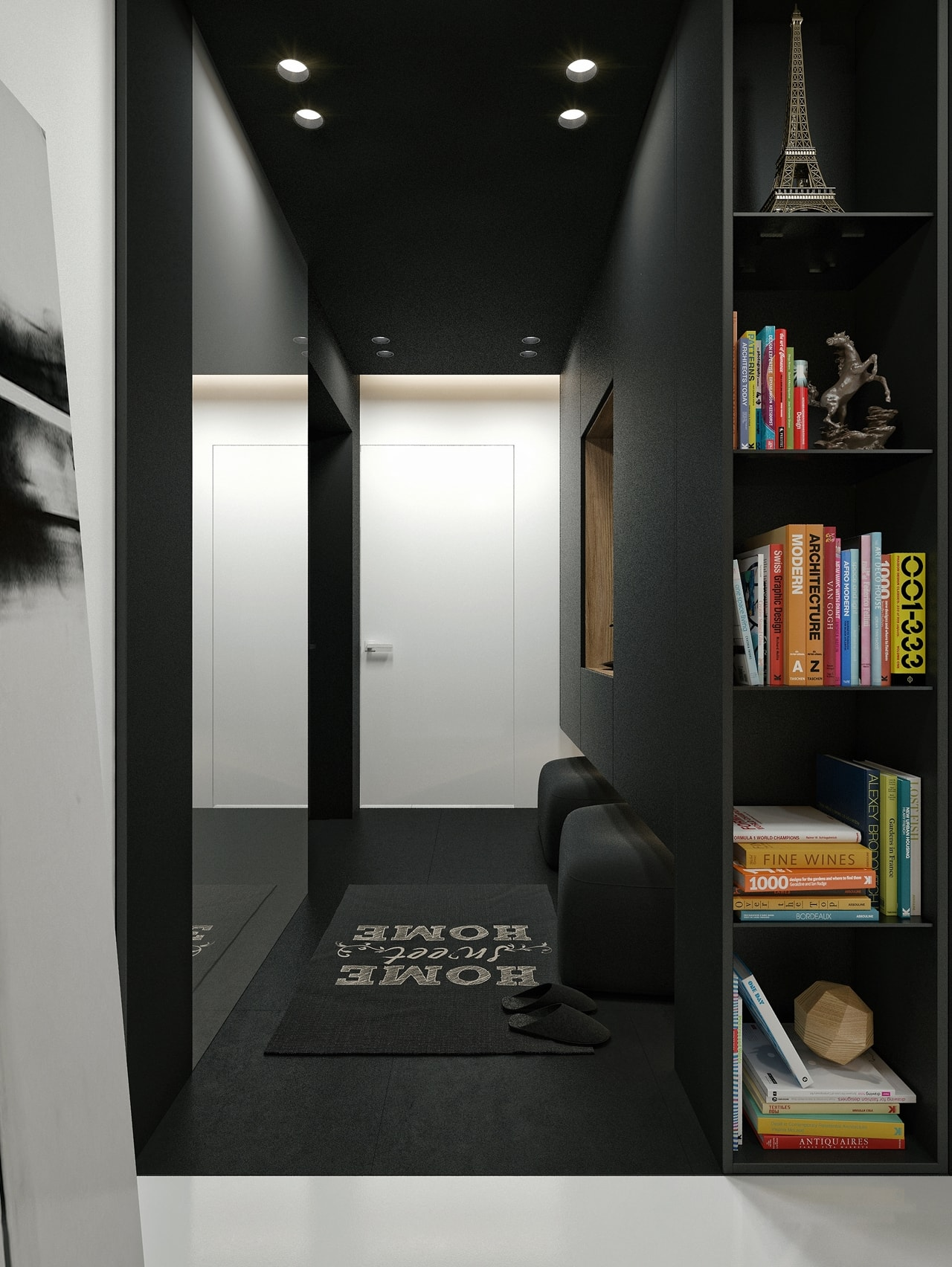 Black interior design by ID White