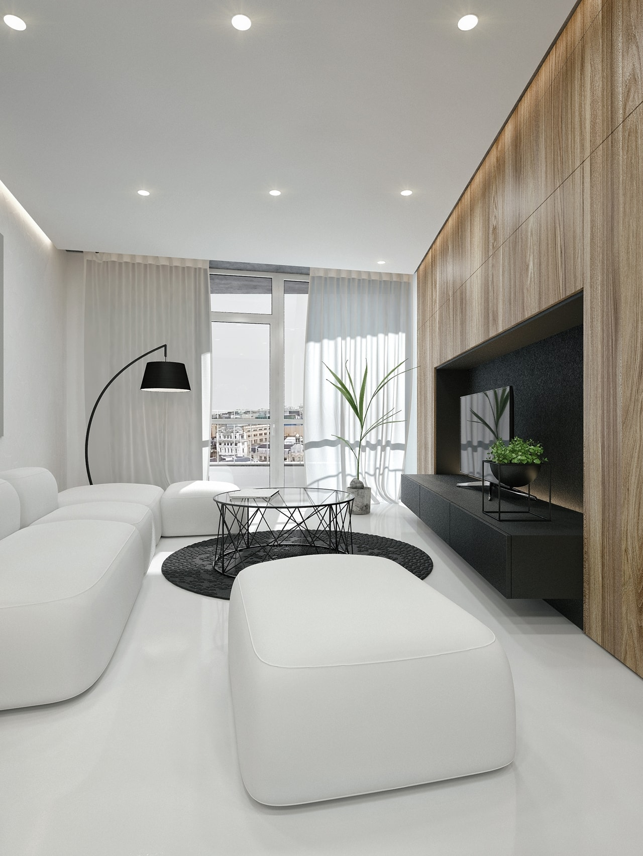 Black and white modern living room by ID White