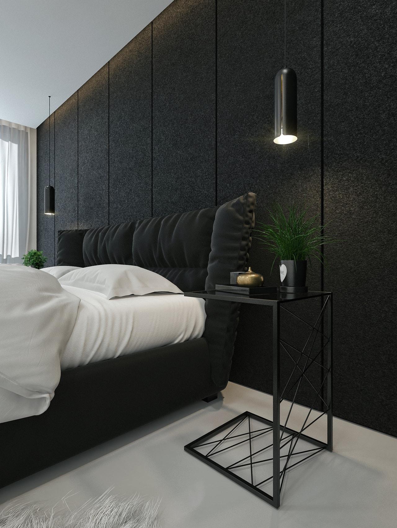 Modern black bedroom design by ID White