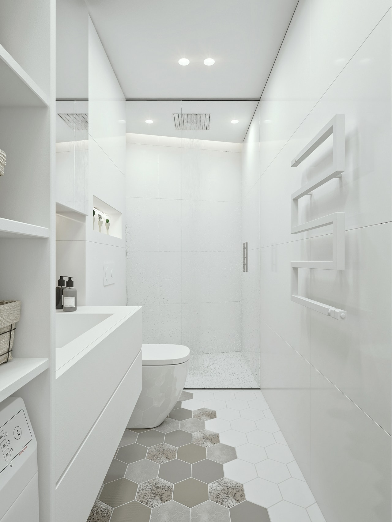 White bathroom design in apartment by ID White