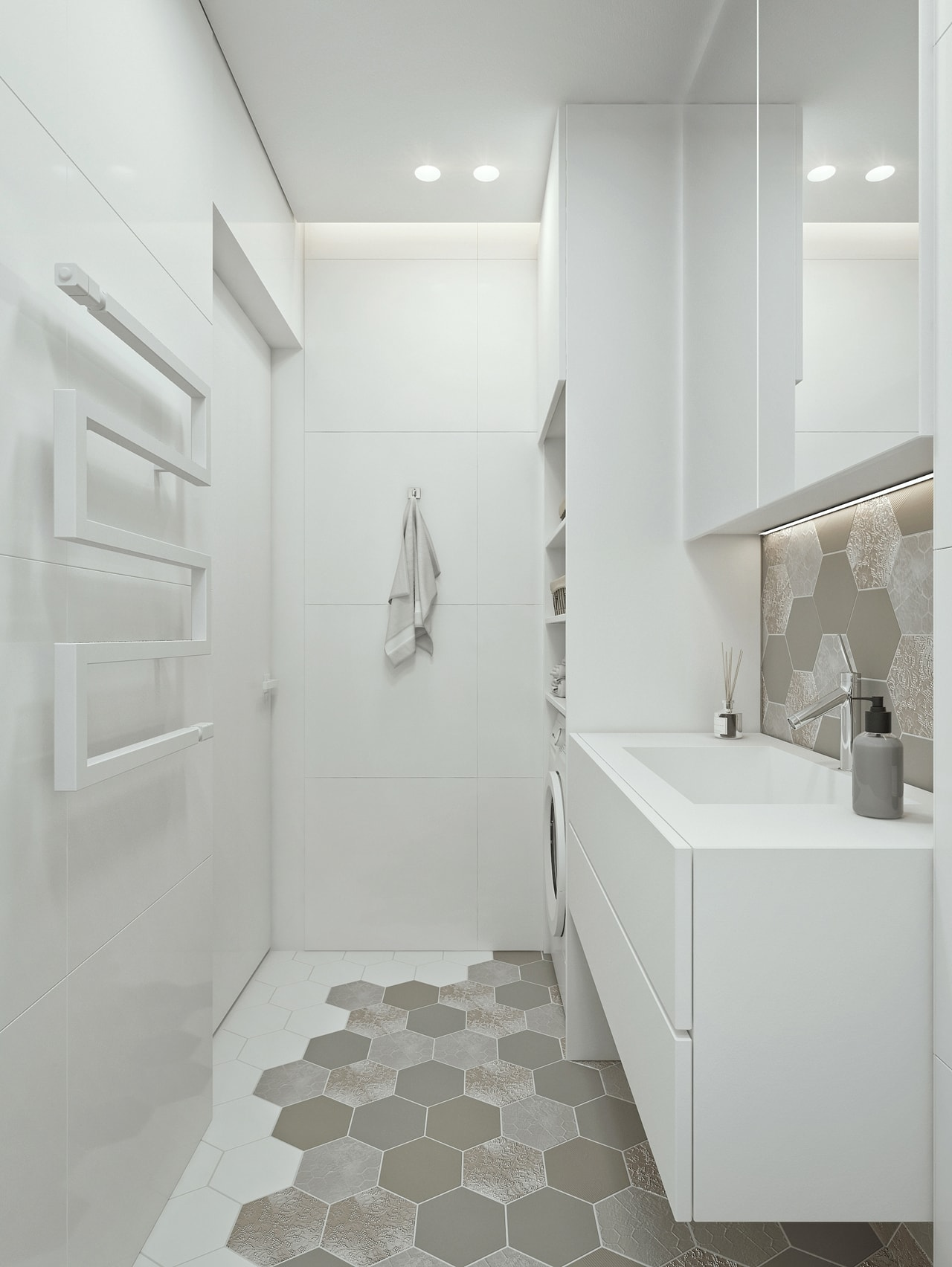 Modern small bathroom design by ID White
