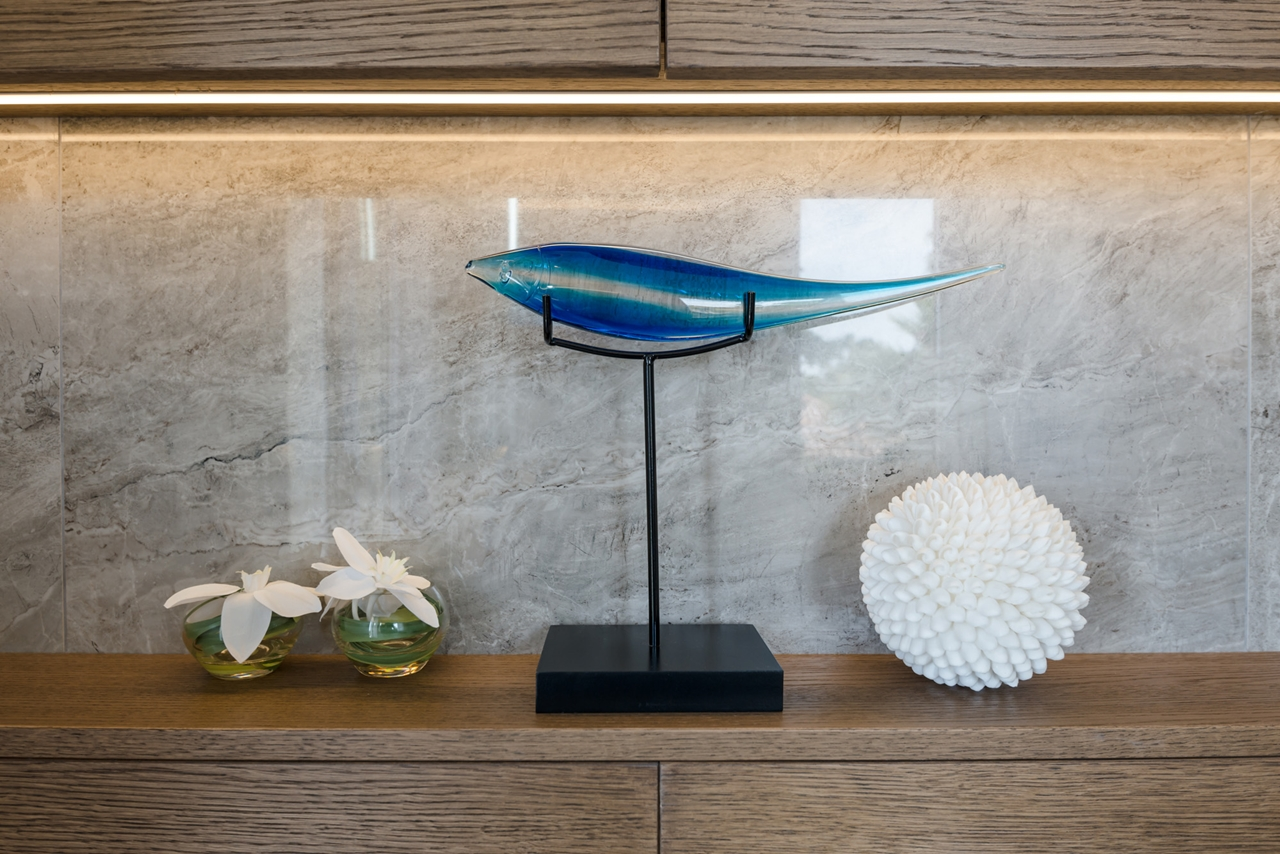 Blue fish sculpture by NG Studio