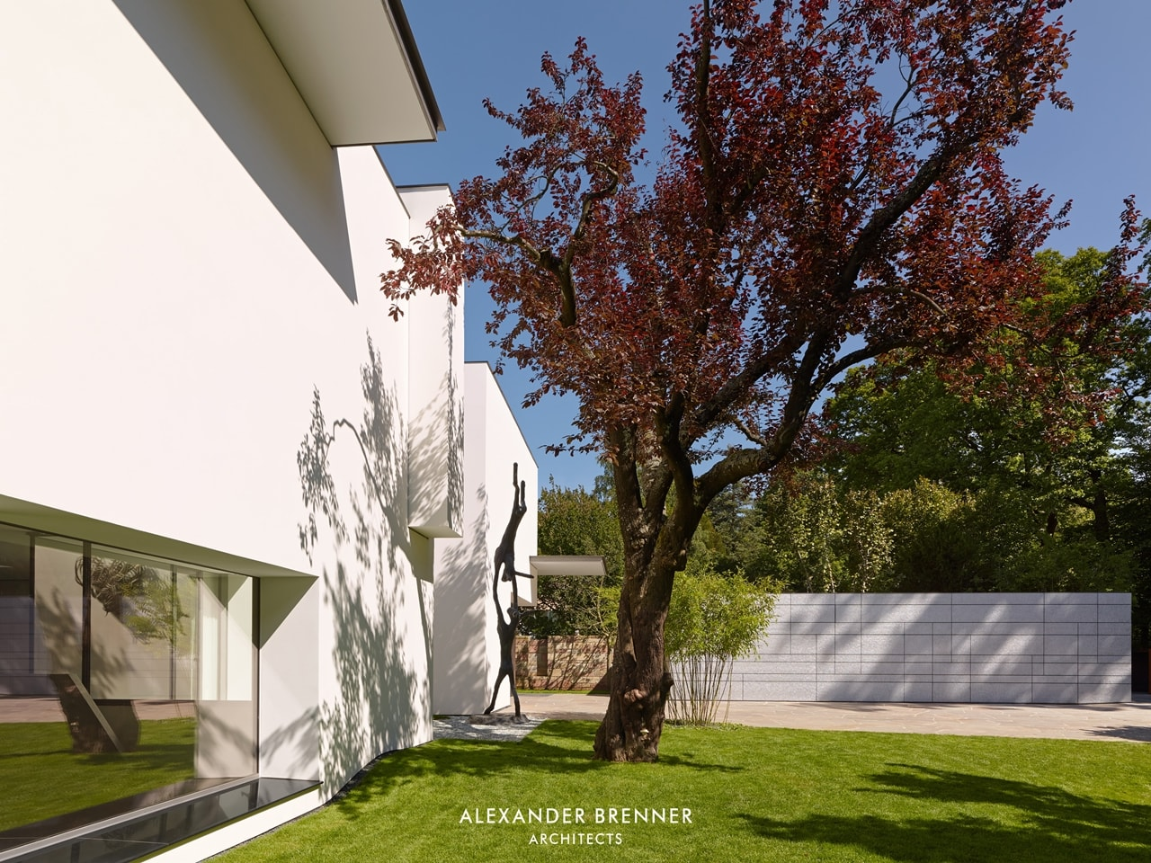Garden in the modern villa by Alexander Brenner
