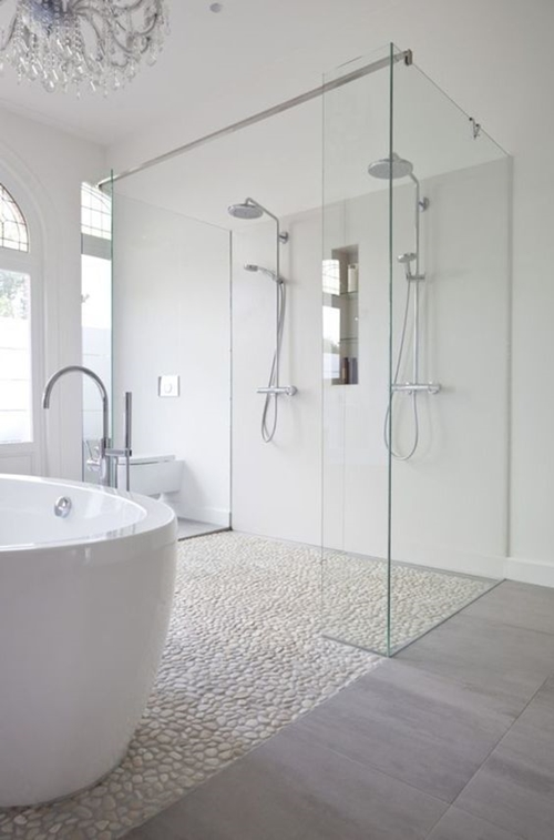 white stone shower floor