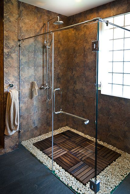 wood and stone shower floor