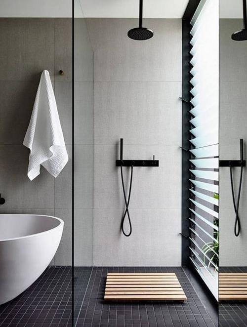 small wooden shower floor