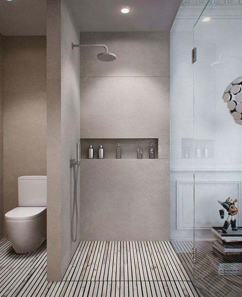 wooden shower floor