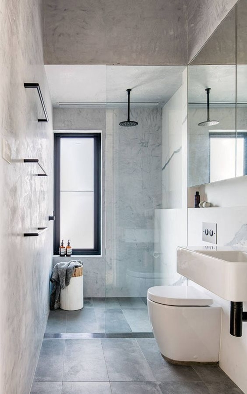 modern walk in shower in small bathroom