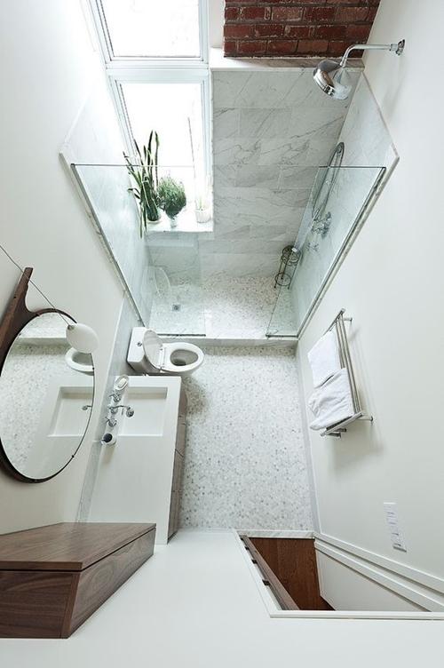walk in shower in small bathroom