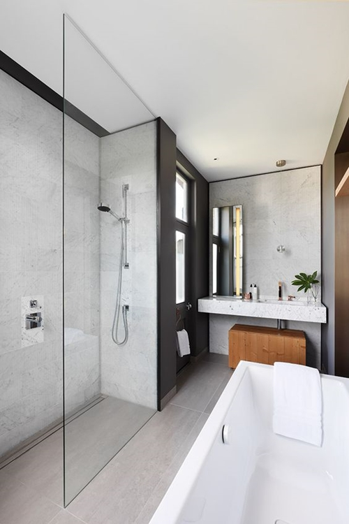 walk in shower in modern small bathroom
