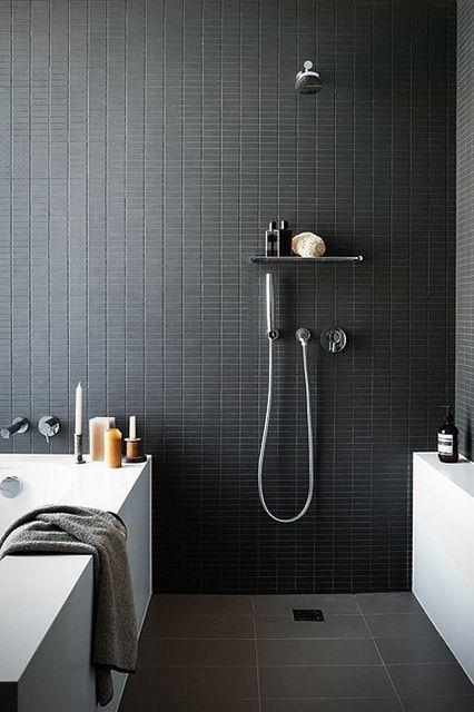 minimalist walk in shower in small bathroom