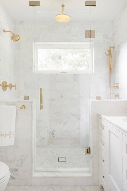 luxury walk in shower in small bathroom
