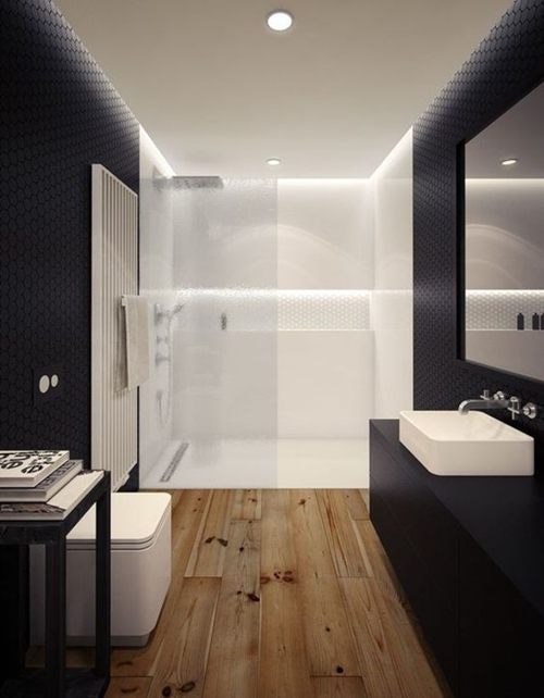 walk in shower in black bathroom