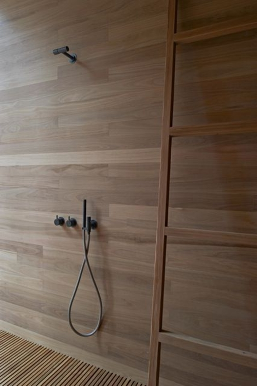walk in shower with wood
