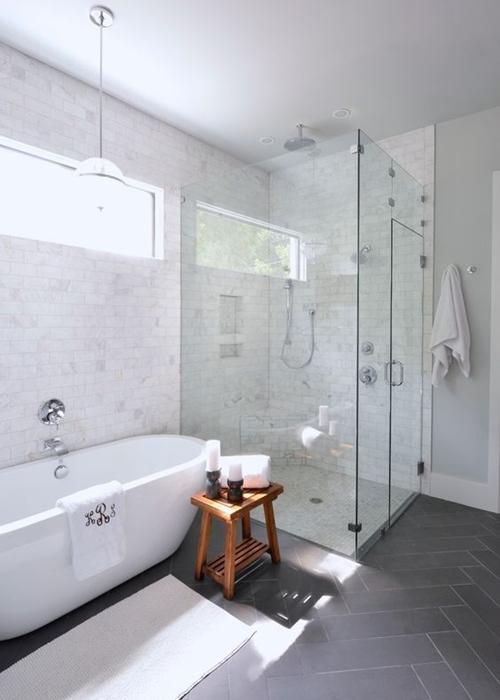 walk in shower and bathtub