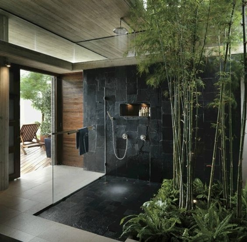 dark stone shower tiles