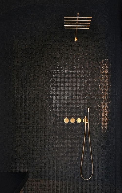 dark shower tiles