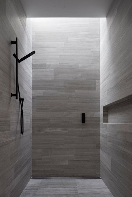 grey shower tiles