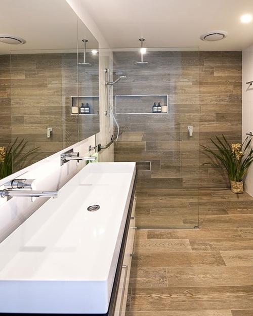 brown shower tiles