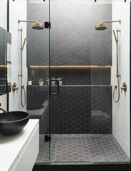 black and white shower tiles