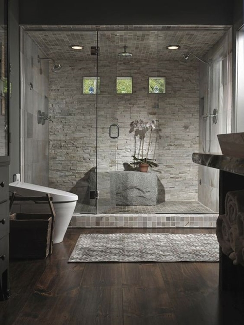 grey stone shower tiles