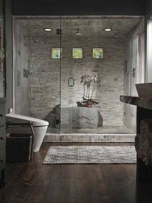 grey stone shower tiles