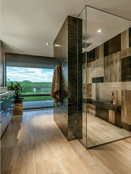 brown texture shower tiles