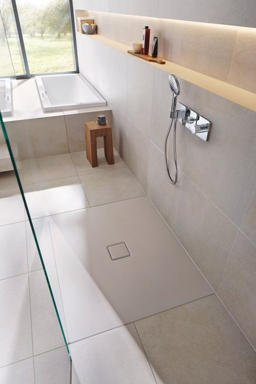 minimalist walk in shower with a seat