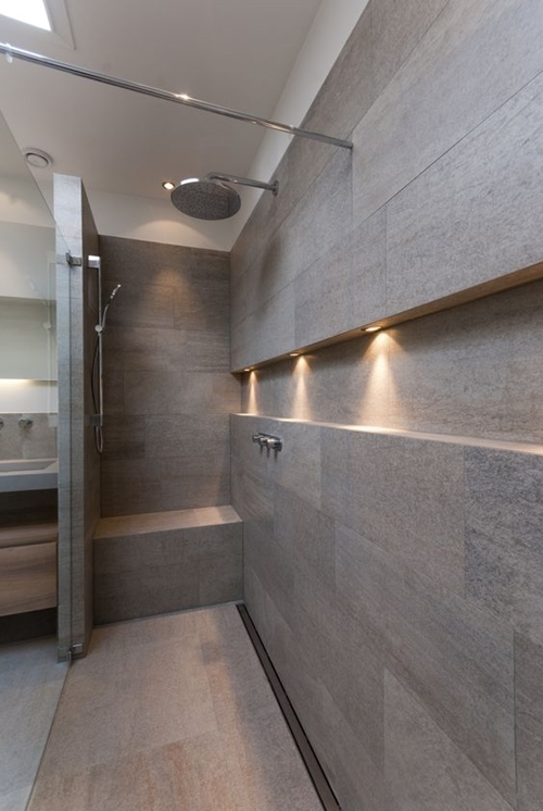 open minimalist walk in shower with a seat