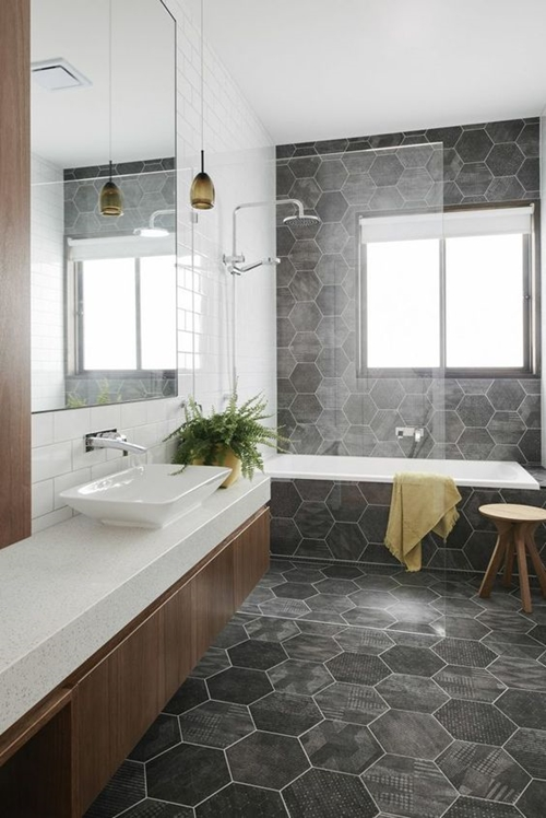 contemporary walk in shower with a seat