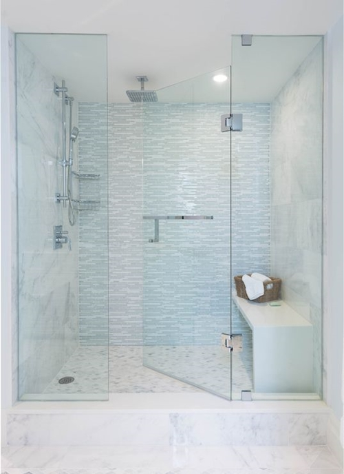bright walk in shower with a seat In 2019 - Beautiful shower doors for walk in showers Ideas
