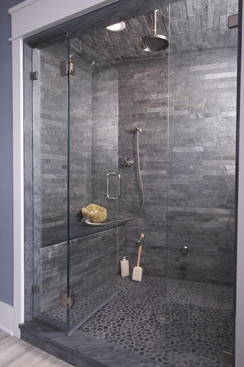 closer dark walk in shower with a seat