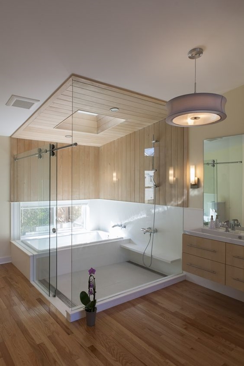 Walk in shower with seat featured on Architecture Beast 73