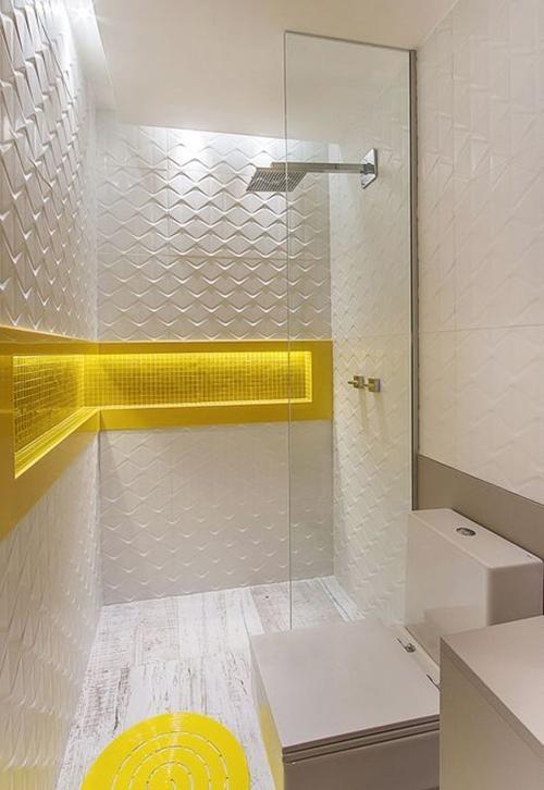 white modern walk in shower without door