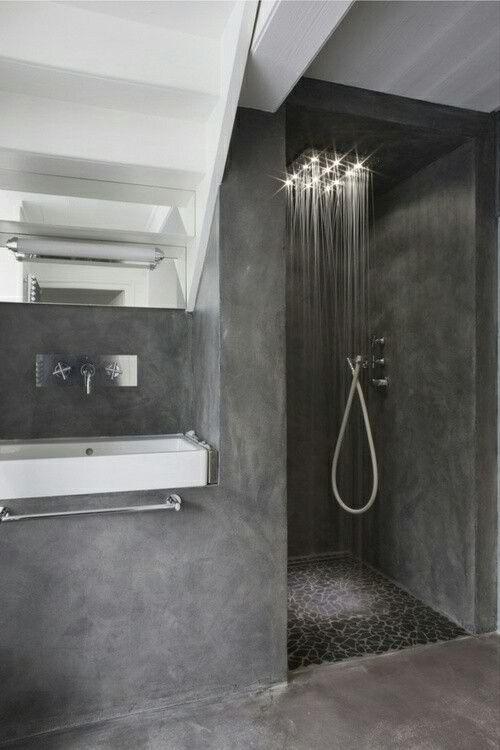 dark walk in shower without door