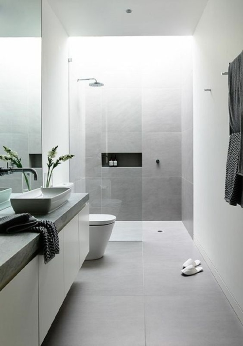 white walk in shower without door