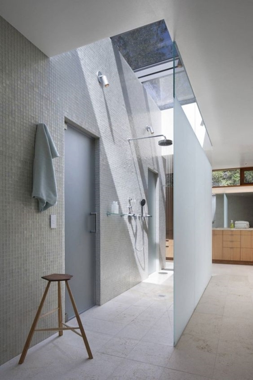 walk in shower without door with skylight